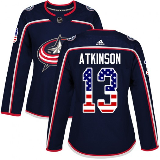 Cam Atkinson Columbus Blue Jackets Women's Adidas Authentic Navy Blue USA Flag Fashion Jersey