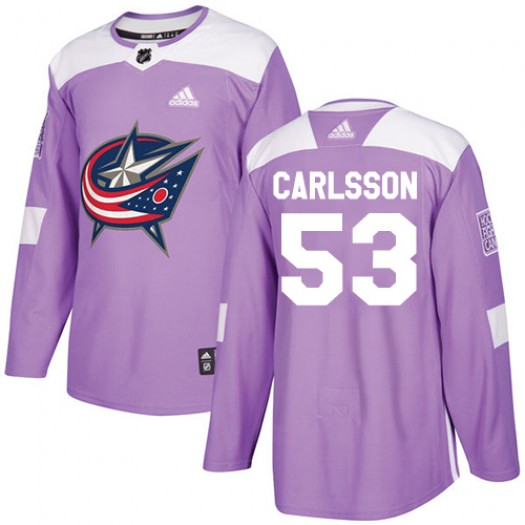 Gabriel Carlsson Columbus Blue Jackets Men's Adidas Authentic Purple Fights Cancer Practice Jersey