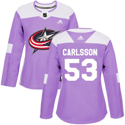 Gabriel Carlsson Columbus Blue Jackets Women's Adidas Authentic Purple Fights Cancer Practice Jersey