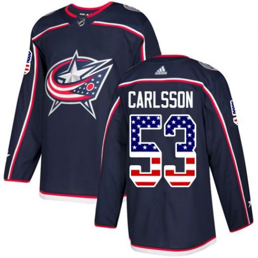 Gabriel Carlsson Columbus Blue Jackets Men's Adidas Authentic Navy Blue USA Flag Fashion Jersey