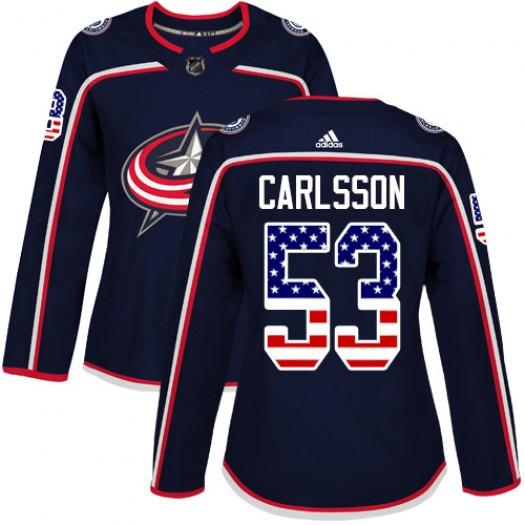Gabriel Carlsson Columbus Blue Jackets Women's Adidas Authentic Navy Blue USA Flag Fashion Jersey
