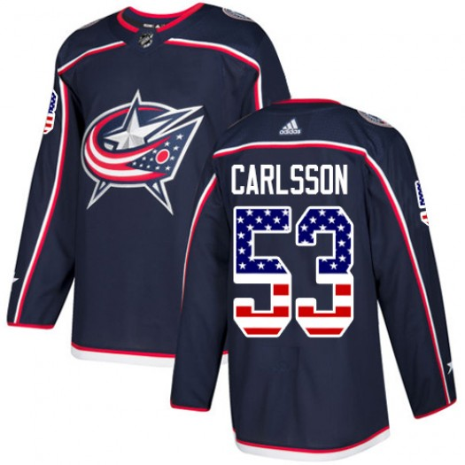 Gabriel Carlsson Columbus Blue Jackets Youth Adidas Authentic Navy Blue USA Flag Fashion Jersey