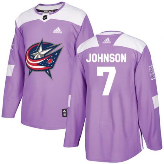 Jack Johnson Columbus Blue Jackets Men's Adidas Authentic Purple Fights Cancer Practice Jersey