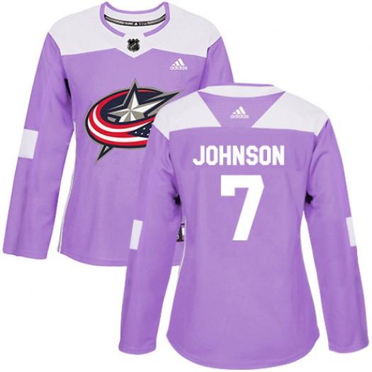 Jack Johnson Columbus Blue Jackets Women's Adidas Authentic Purple Fights Cancer Practice Jersey