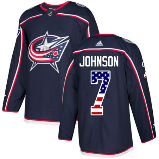 Jack Johnson Columbus Blue Jackets Men's Adidas Authentic Navy Blue USA Flag Fashion Jersey