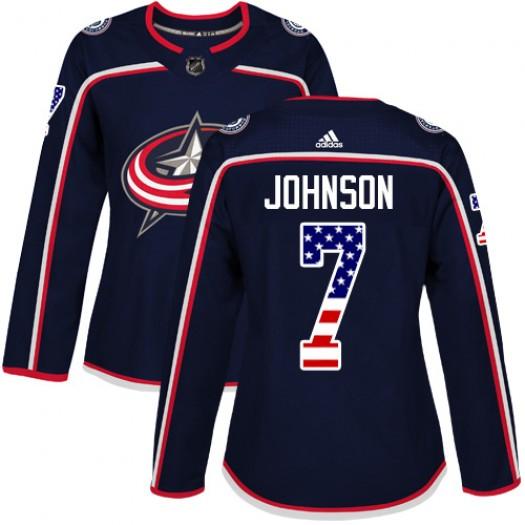 Jack Johnson Columbus Blue Jackets Women's Adidas Authentic Navy Blue USA Flag Fashion Jersey