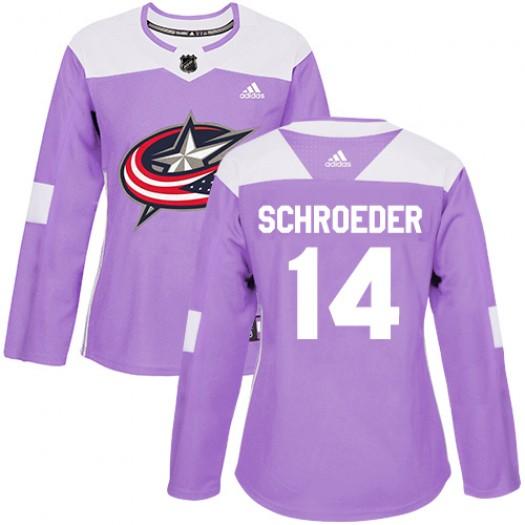 Jordan Schroeder Columbus Blue Jackets Women's Adidas Authentic Purple Fights Cancer Practice Jersey
