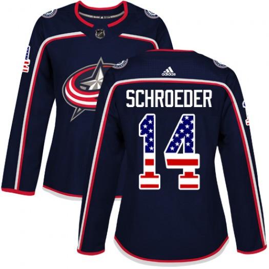 Jordan Schroeder Columbus Blue Jackets Women's Adidas Authentic Navy Blue USA Flag Fashion Jersey