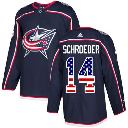 Jordan Schroeder Columbus Blue Jackets Youth Adidas Authentic Navy Blue USA Flag Fashion Jersey