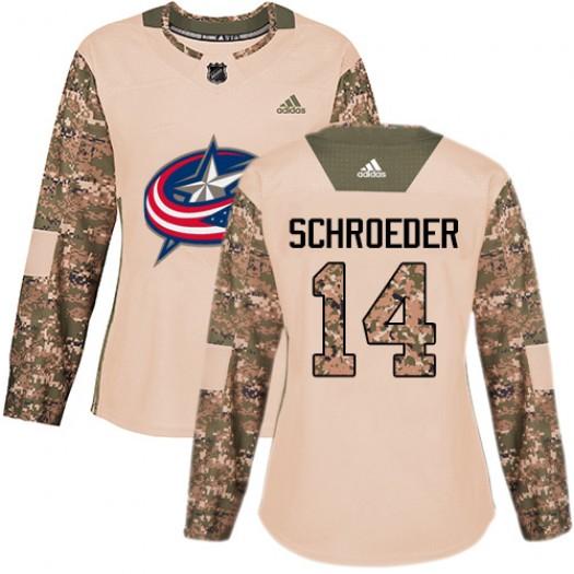 Jordan Schroeder Columbus Blue Jackets Women's Adidas Authentic Camo Veterans Day Practice Jersey