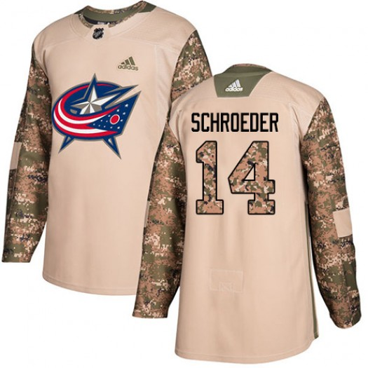 Jordan Schroeder Columbus Blue Jackets Youth Adidas Authentic Camo Veterans Day Practice Jersey