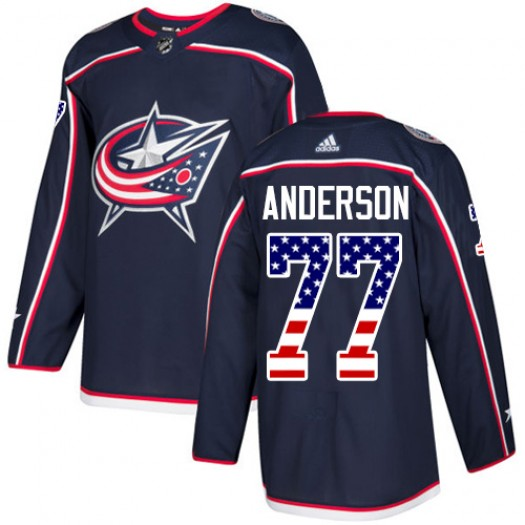 Josh Anderson Columbus Blue Jackets Men's Adidas Authentic Navy Blue USA Flag Fashion Jersey