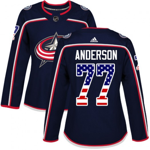 Josh Anderson Columbus Blue Jackets Women's Adidas Authentic Navy Blue USA Flag Fashion Jersey