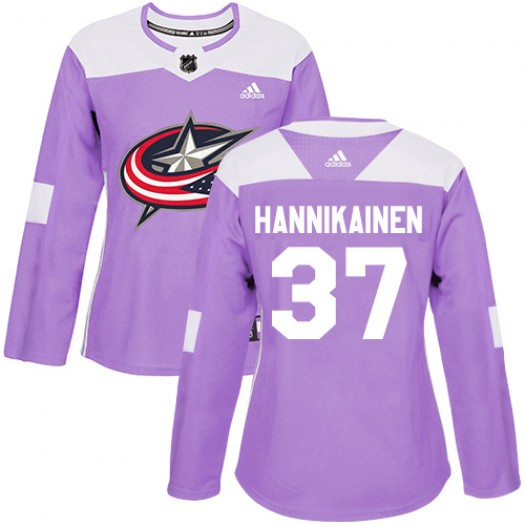 Markus Hannikainen Columbus Blue Jackets Women's Adidas Authentic Purple Fights Cancer Practice Jersey