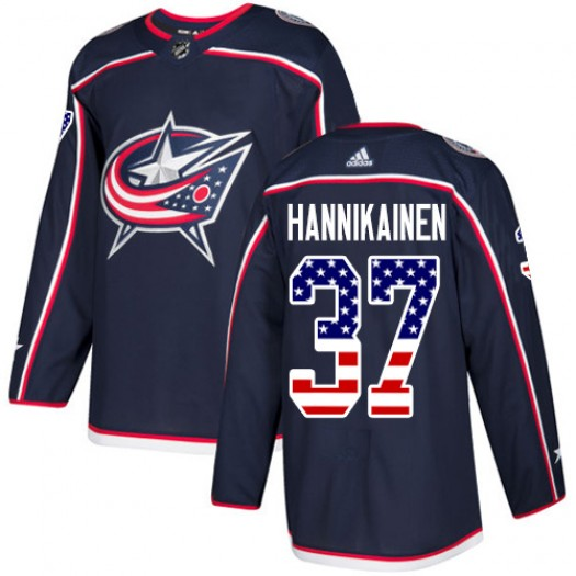 Markus Hannikainen Columbus Blue Jackets Men's Adidas Authentic Navy Blue USA Flag Fashion Jersey