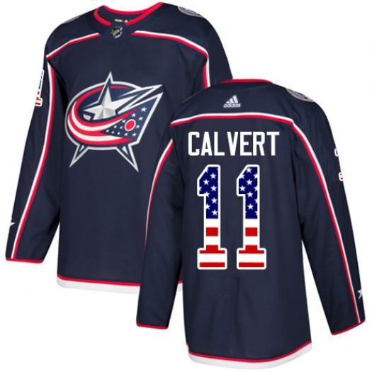 Matt Calvert Columbus Blue Jackets Men's Adidas Authentic Navy Blue USA Flag Fashion Jersey