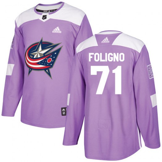 Nick Foligno Columbus Blue Jackets Men's Adidas Authentic Purple Fights Cancer Practice Jersey