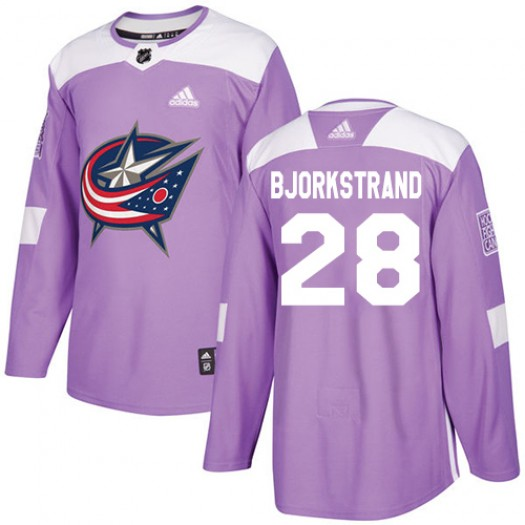 Oliver Bjorkstrand Columbus Blue Jackets Men's Adidas Authentic Purple Fights Cancer Practice Jersey