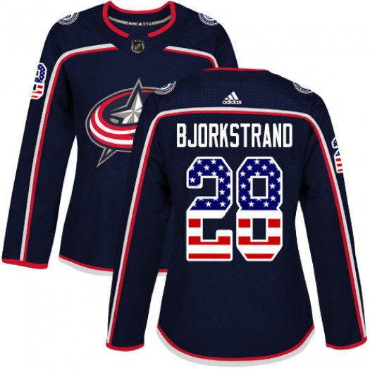 Oliver Bjorkstrand Columbus Blue Jackets Women's Adidas Authentic Navy Blue USA Flag Fashion Jersey