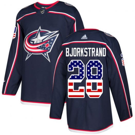 Oliver Bjorkstrand Columbus Blue Jackets Youth Adidas Authentic Navy Blue USA Flag Fashion Jersey