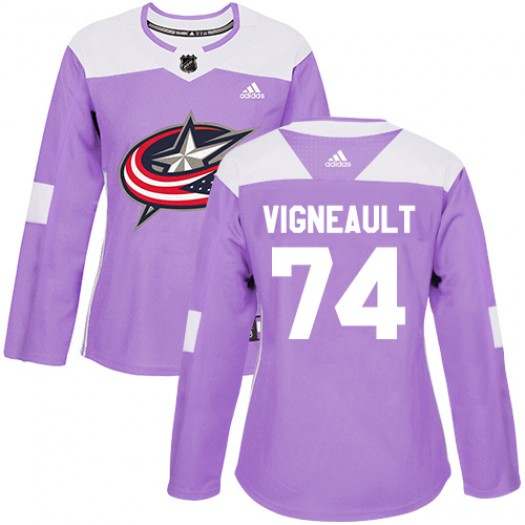 Sam Vigneault Columbus Blue Jackets Women's Adidas Authentic Purple Fights Cancer Practice Jersey