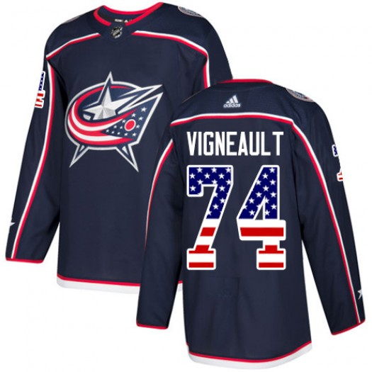 Sam Vigneault Columbus Blue Jackets Men's Adidas Authentic Navy Blue USA Flag Fashion Jersey