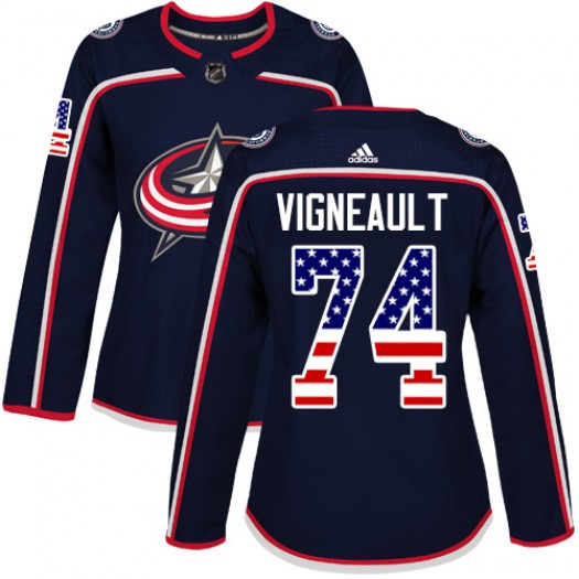 Sam Vigneault Columbus Blue Jackets Women's Adidas Authentic Navy Blue USA Flag Fashion Jersey