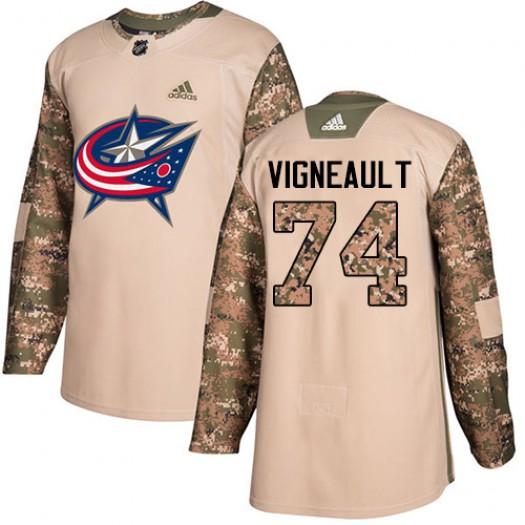 Sam Vigneault Columbus Blue Jackets Men's Adidas Authentic Camo Veterans Day Practice Jersey