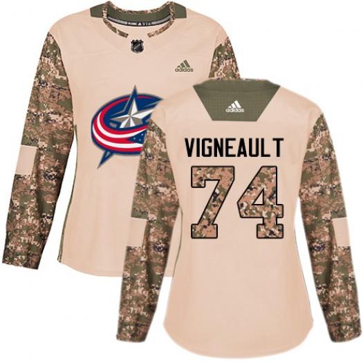 Sam Vigneault Columbus Blue Jackets Women's Adidas Authentic Camo Veterans Day Practice Jersey