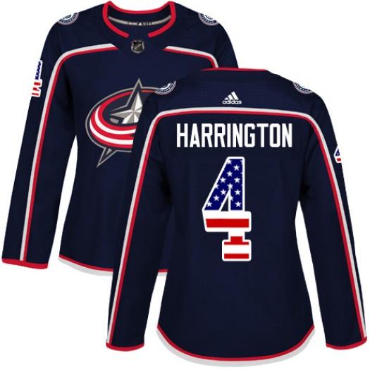 Scott Harrington Columbus Blue Jackets Women's Adidas Authentic Navy Blue USA Flag Fashion Jersey