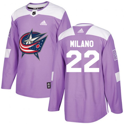 Sonny Milano Columbus Blue Jackets Men's Adidas Authentic Purple Fights Cancer Practice Jersey