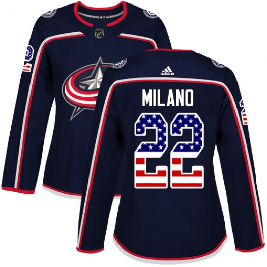 Sonny Milano Columbus Blue Jackets Women's Adidas Authentic Navy Blue USA Flag Fashion Jersey