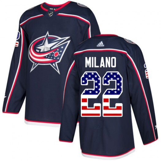 Sonny Milano Columbus Blue Jackets Youth Adidas Authentic Navy Blue USA Flag Fashion Jersey