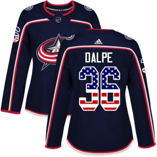 Zac Dalpe Columbus Blue Jackets Women's Adidas Authentic Navy Blue USA Flag Fashion Jersey