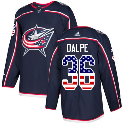 Zac Dalpe Columbus Blue Jackets Youth Adidas Authentic Navy Blue USA Flag Fashion Jersey