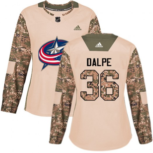 Zac Dalpe Columbus Blue Jackets Women's Adidas Authentic Camo Veterans Day Practice Jersey